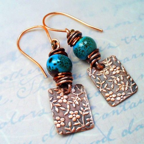 Patinad Flower Stamped Copper Earrings w Robin Egg Blue Ceramic Beads