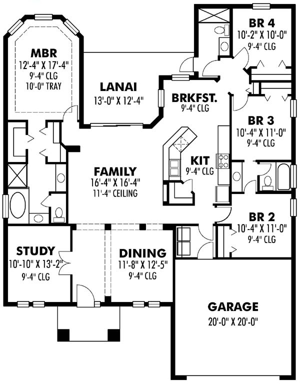 First Floor Plan Of Florida Ranch Traditional House Plan