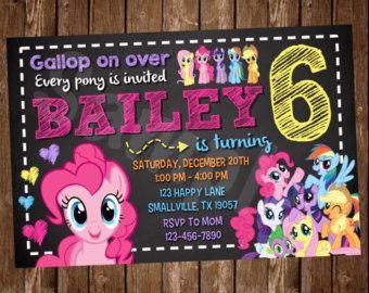 Mon petit poney Invitation PP04 par Denleys sur Etsy