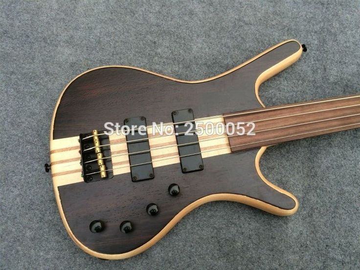 Fretless 4 String Bass Black and Gold #chibson #stratcopy #cheapguitars #guitars #electricguitars