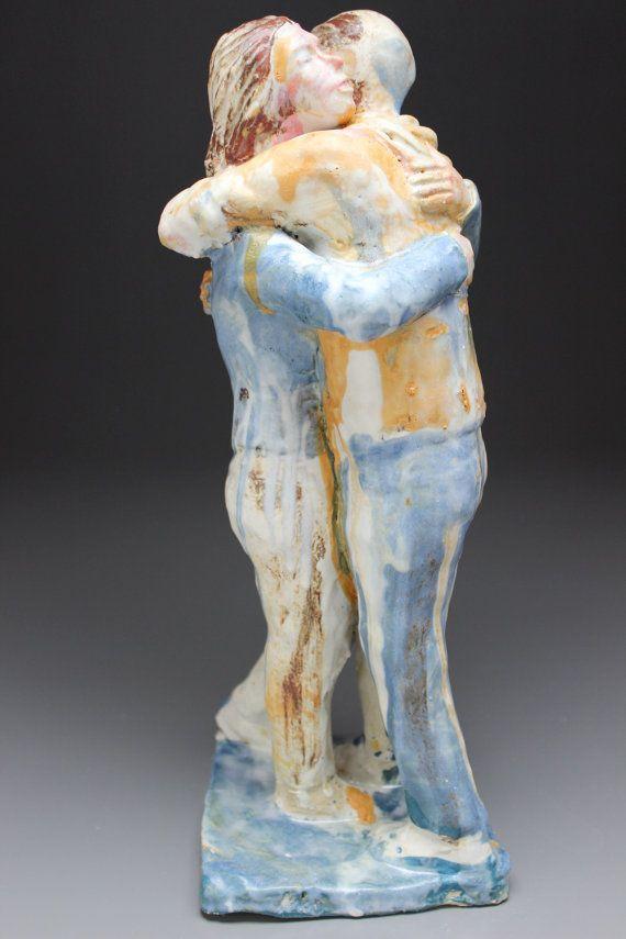 Hug Sculpture Ceramic Figure Art Couple of Friends by AdrienArt