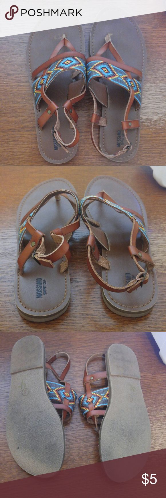 Mossimo Brown Leather Embroidered Tribal Sandals EEUC! Worn briefly twice. Size 8. Boho tribal embroidery and brown leather. Mossimo by Target. Mossimo Supply Co Shoes Sandals
