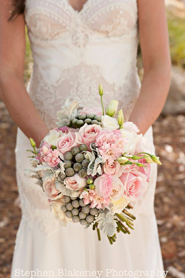 Rose, carnations, lisianthus, brunia berry and Dusty Miller bouquet by Scentiment Flowers, pic by Blakeney Photography