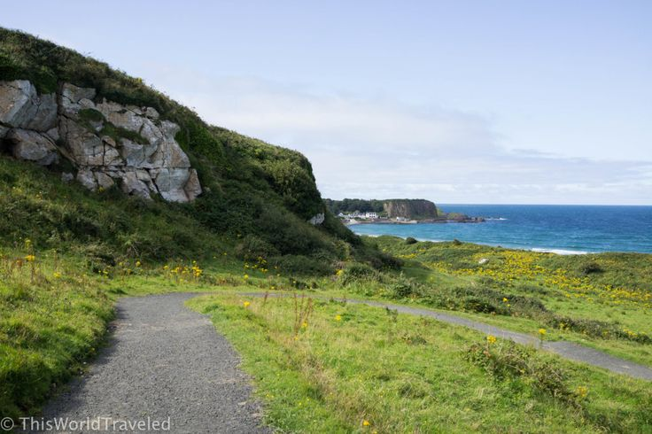 The gravel path that leads to the beautiful beach of White Bay in Northern Ireland