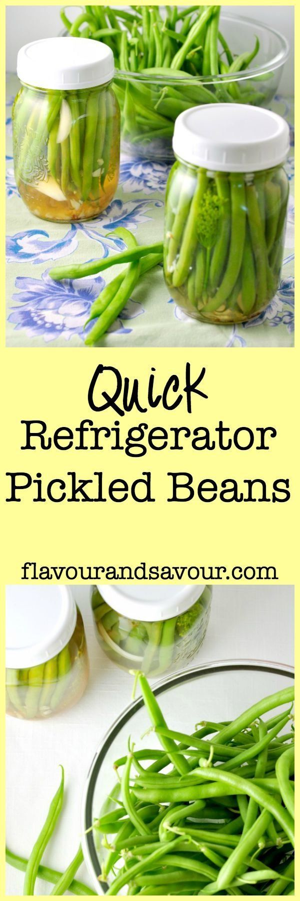 An easy-to-follow recipe for quick Refrigerator Pickled Beans. Great for snacking, as a side, or as a garnish for Caesar cocktails.
