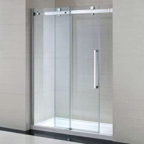 "Miseno MSDC6082 81-1/2"" High x 60"" Wide Frameless Shower Door for Alcove Installations - Acrylic Shower Base Included, Grey/Clear chrome / clear"