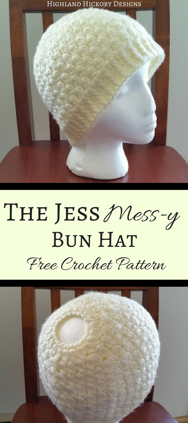 Free crochet pattern for women's winter wear. Make the Jess Mess-y Bun Hat in any color of the rainbow, but don't forget to add the matching extra long infinity scarf.