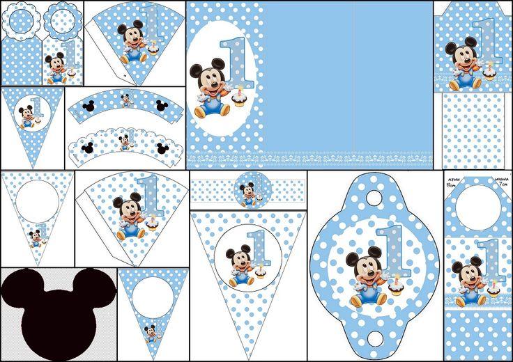 Mickey Primer Año con Lunares: Imprimibles Gratis para Fiestas.