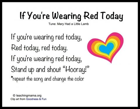 If You're Wearing Red Today songs for preschool that I use and love