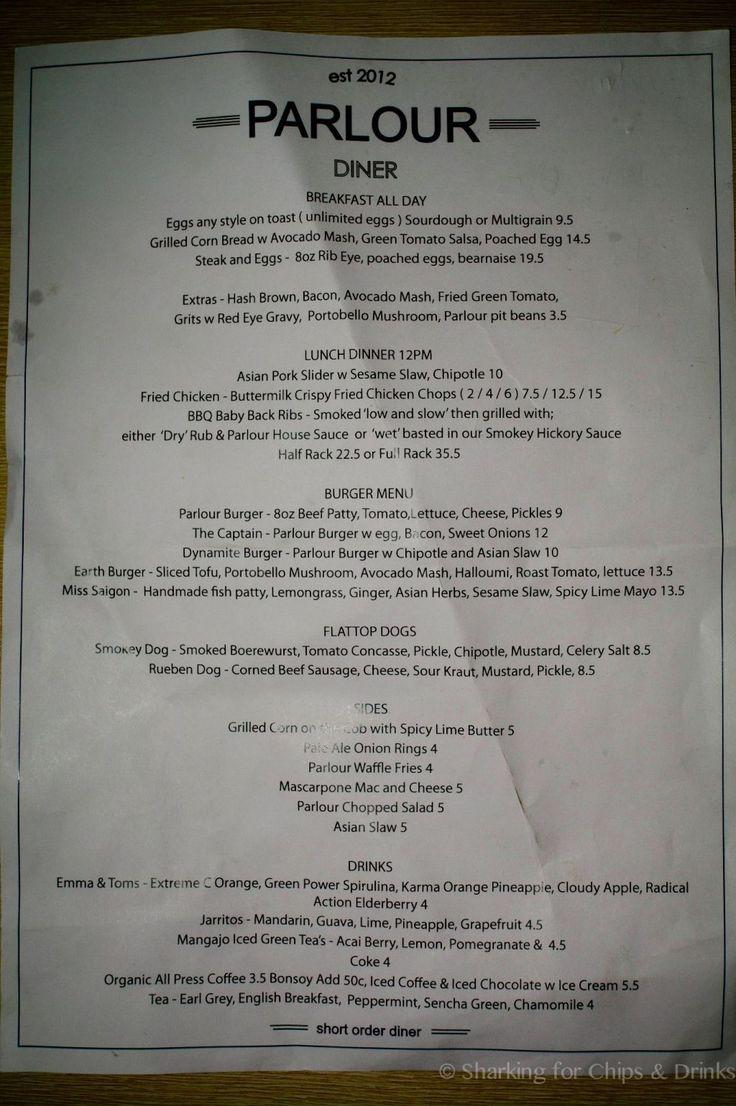 Parlour diner menu