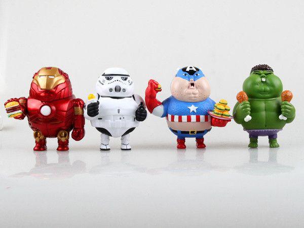 Fat Iron Man, Hulk, Captain America, Stormtrooper Action Figures