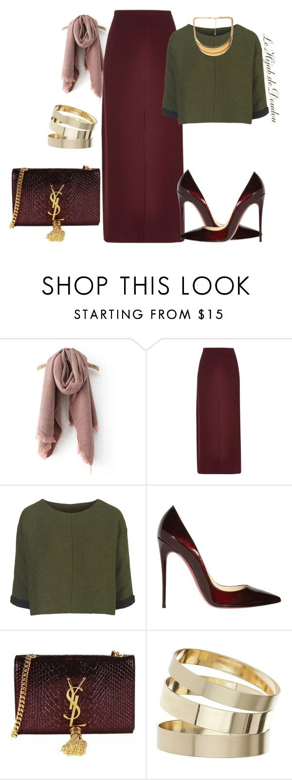 """""""Hijab Outfit"""" by le-hijab-de-doudou ❤ liked on Polyvore featuring River Island, Topshop, Christian Louboutin, Yves Saint Laurent, Miss Selfridge and Forever 21"""
