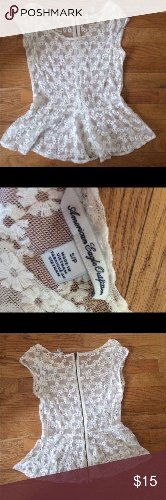 American Eagle white peplum top American Eagle white peplum top. Size small. Perfect condition! American Eagle Outfitters Tops Blouses