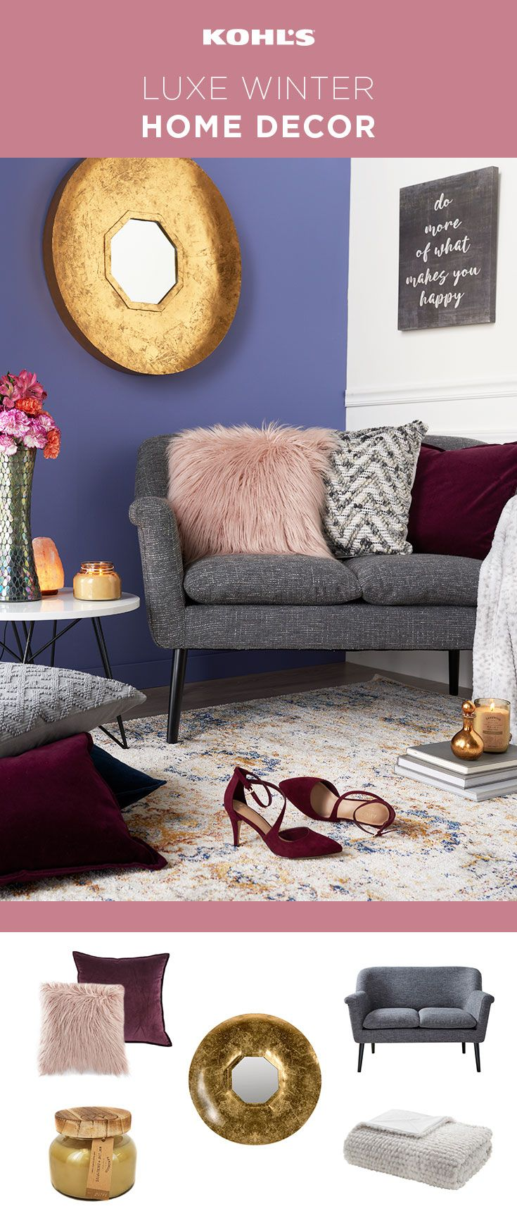 It's the season of spending more time indoors, so why not make your space a place you love? A few simple additions, like textured pillows, an interesting mirror and cozy decor, can transform your home to a welcoming winter abode. Shop the home decor, including LC Lauren Conrad faux fur pillow, at Kohl's. #homedecorideas