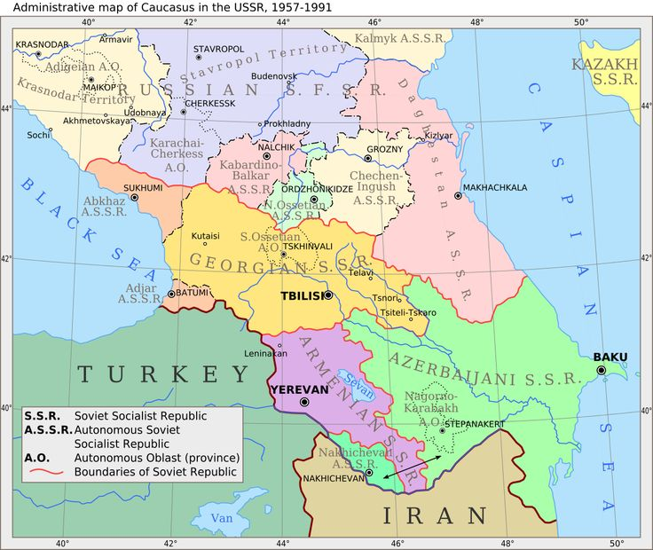 Administrative map of Caucasus in the USSR, 1957-1991