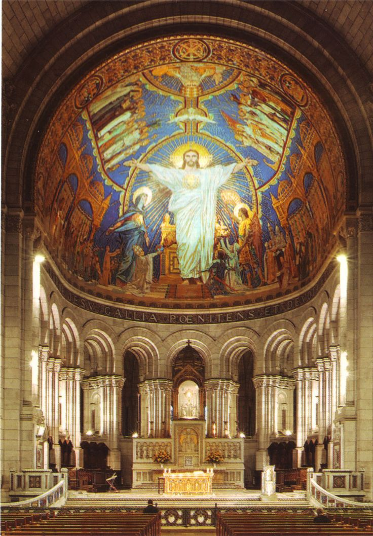 Basilique du Sacre Coeur (Basilica of the Sacred Heart), interior and apse mosaic, Montmartre, Paris, France.  Photo from Architecture of Paris.