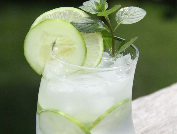 Gin and Tonic recipe. Lime, basil-mint, cucumber infused