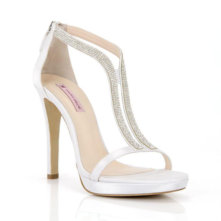 ΠΕΔΙΛΑ MOD: 011008076 - TSAKIRIS MALLAS Λευκά σατέν νυφικά πέδιλα με τακούνι 14 πόντους