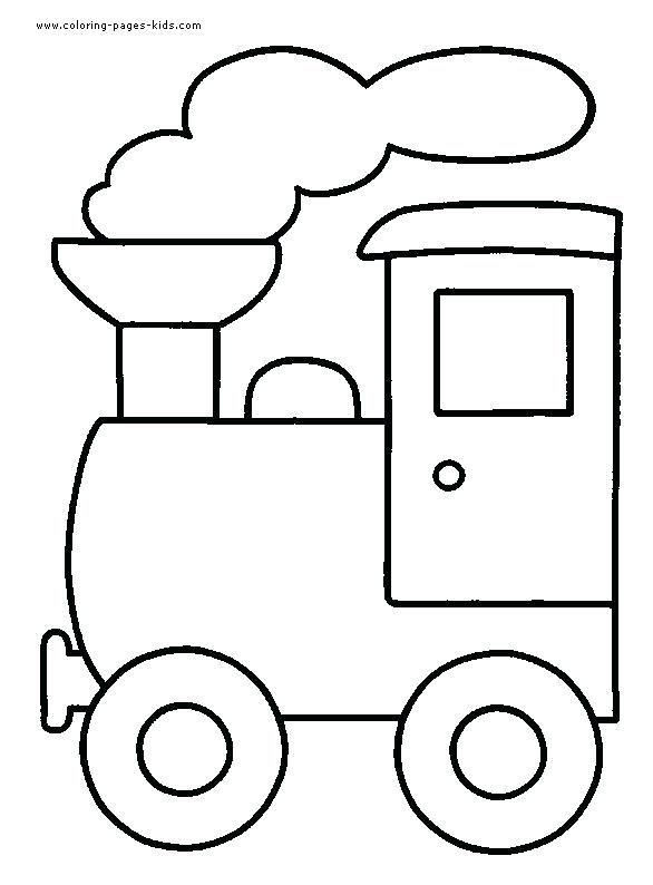 Easy Coloring Pages For Kids Train Color Page Transportation Plate