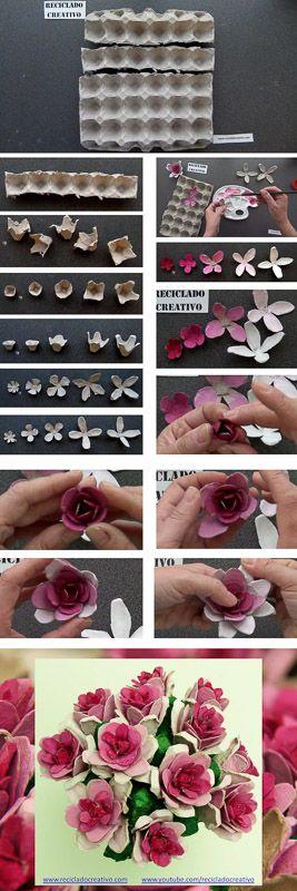Cómo realizar flores rosas con hueveras de cartón recicladas How to make flowers out fo...