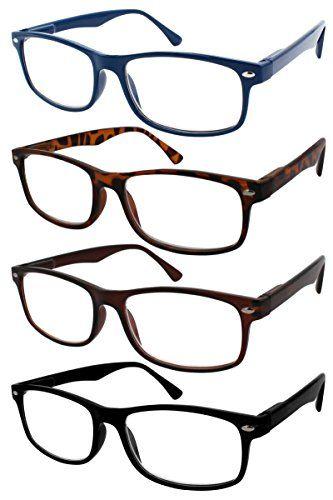 c19c7b7f74 TBOC® Gafas de Lectura Presbicia Vista Cansada - (Pack 4 Unidades)  Graduadas +1.50 Dioptrías Montura de Pasta Azul Marrón Negra Carey Diseño  Moda Hombre ...