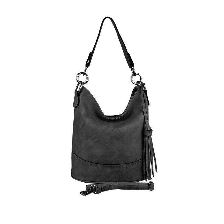 DAMEN TASCHE HOBO-BAG Shopper Umhängetasche Handtasche Schultertasche Henkeltasche Beuteltasche CrossOver Tote-Bag Schwarz