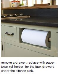 Replace the faux drawer under the sink with a towel roll!  Genius!!: Good Ideas, Counter Spaces, Awesome Ideas, Neat Ideas, Fake Drawers, Faux Drawers, Cool Ideas, Paper Towel Holders, Paper Towels Holders