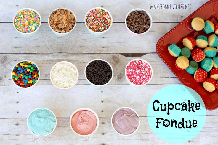 Are you looking for a different birthday idea? Something a little more than just a regular birthday cake? How about getting your party guests involved with your birthday party dessert by having a Cupcake Fondue? In fact, it doesn't have to be just for birthdays….how about an afternoon school snack? Or a casual dinner party? …