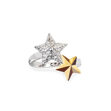 Chloe + Isabel Two Star Open Ring $28.00: Bypass Feature, Shooting Stars, Gold Stars, R010Bk Shooting, Rhodium Star, Star Ring