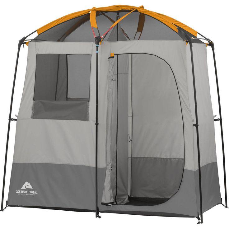 Camping Outdoor Bathroom Family Solar Heated Shower Tent 2Room Non Instant Cabin #CampingOutdoorBathroomSolarHeatedShowerTent
