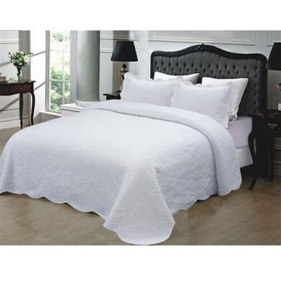 California King 3-Piece White Cotton Quilted Bedspread w/ Shams- Free Shipping