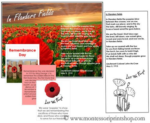 Free Remembrance Day Cards, Booklet, and Poem - Montessori Cultural Holiday & Celebration Cards from Montessori Print Shop