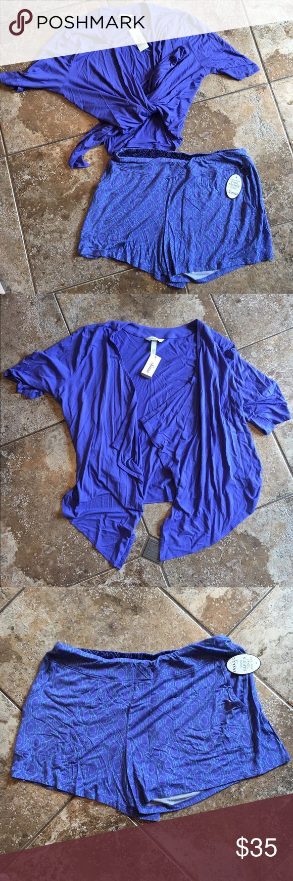"NWT Soma women's two piece pajama set, M NEW with tags, women's pajama set, Soma brand. ""Cool Nights"" fabric is lightweight and soft. Size medium. Perfect for summer! Originally $77! Purchased at outlet for $45!  Includes: -slip on shorts, elastic waistband, silk blend material, blue geo pattern, flowy/loose style. -short sleeve top, open cardigan/robe style, can be worn tied or undone, silk blend material, blue color, fit is loose but if tied would be form fitting. Will require a tank or…"