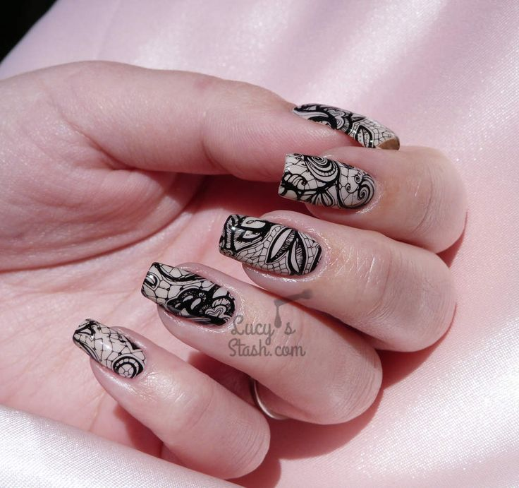 Racy Lacy Nails | Black Stamped Lace Nail Art & Barry M Do It Like A Nude Review