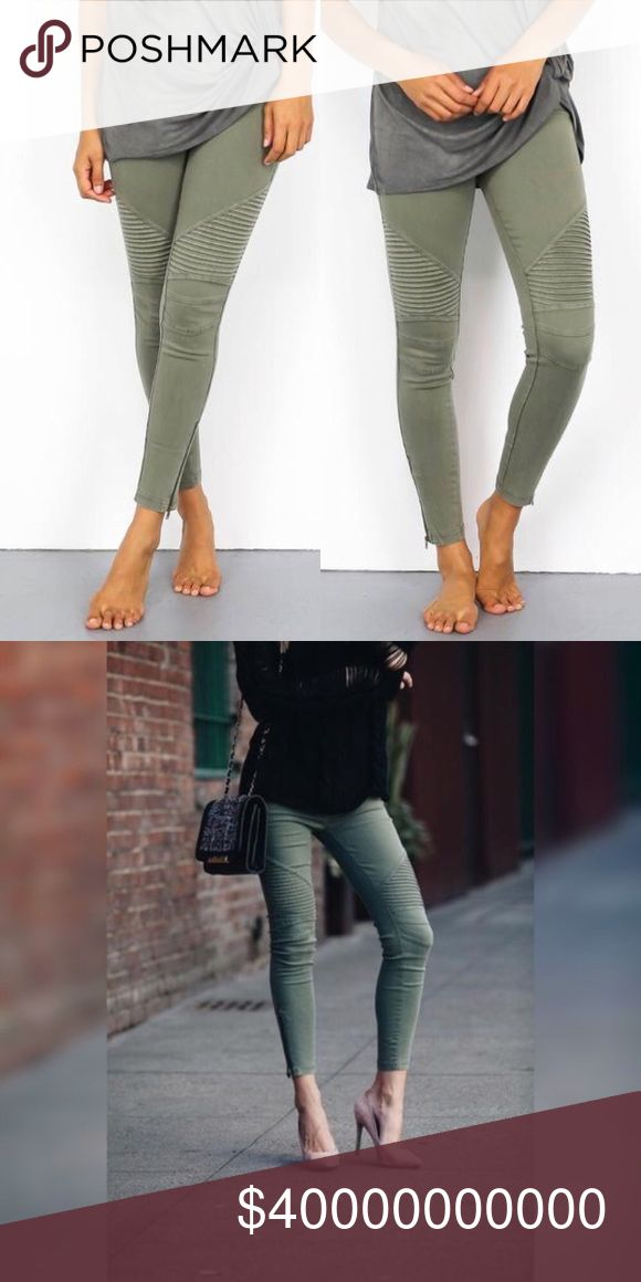 🍾NWT Olive Moto Jeggings🍾 Olive moto jeggings with ankle zipper.  S/M fits sizes 0-6 and L/XL fits sizes 8-14.  These are new with tags.  The perfect gift! Glamvault Pants Leggings