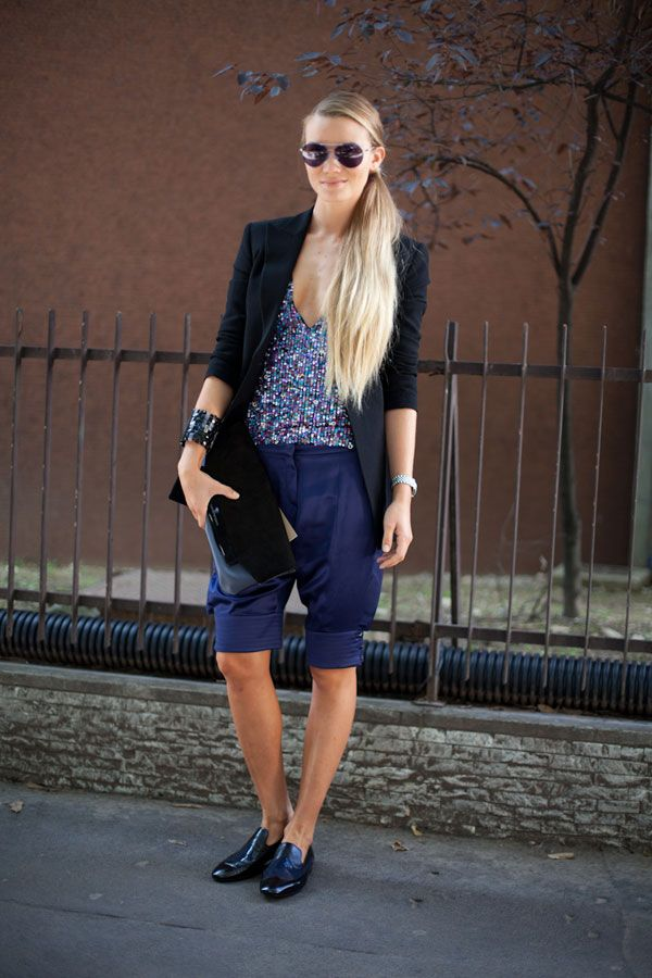 STREET STYLE SPRING 2013: MILAN FW - These leather shorts feel utterly modern.