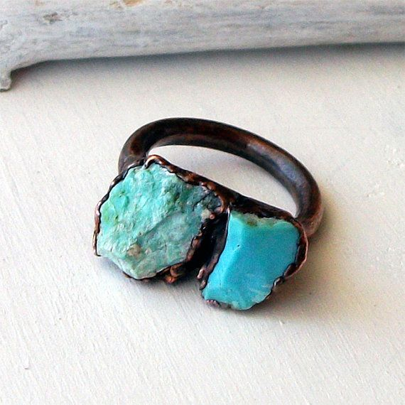 Dripping copper turquoise ring