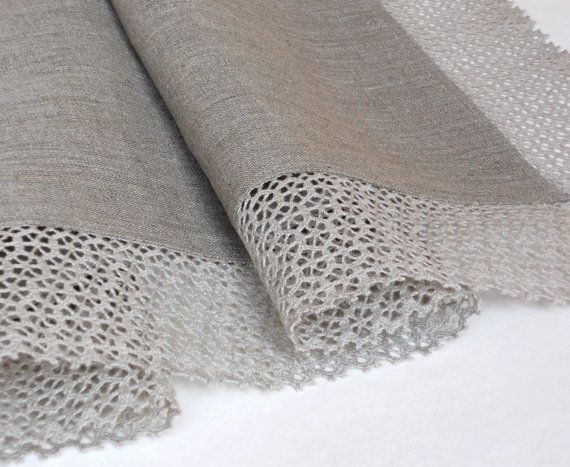 Linen burlap table runner natural gray with wide by cikucakuu, $42.00