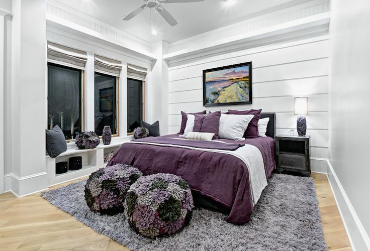 Best Beach Chic Design Purple And Gray Girls Bedroom With 640 x 480
