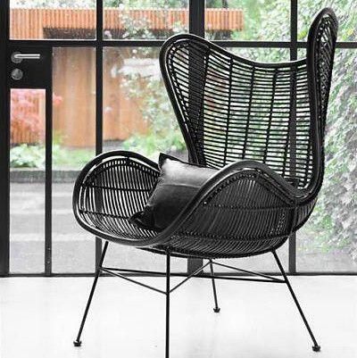 Black Rattan Egg Chair