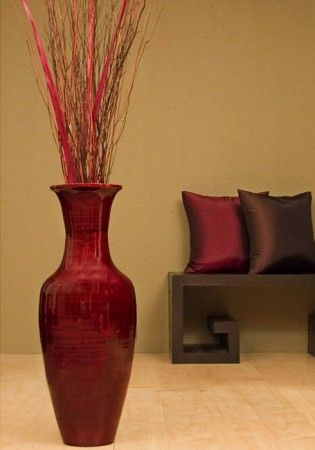 Bamboo Floor Vase With Floral Arrangement Home Sweet Home