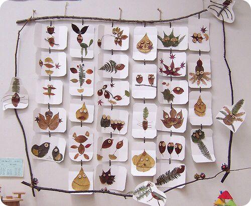 Figuren mit getrockneten Blättern