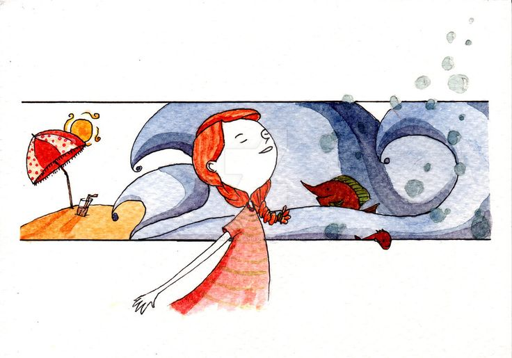 Tempo d'estate by IreneMontano #illustration #littlegirl #nature #summertime #watercolors