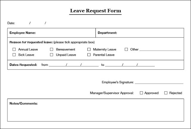 Employee Leave Application Form Leaves Application Form