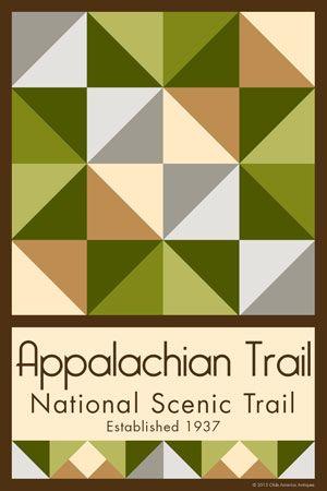 Olde America Antiques | Quilt Blocks | National Parks | Bozeman Montana : Blue Ridge Parkway - Appalachian Trail NST Quilt Block