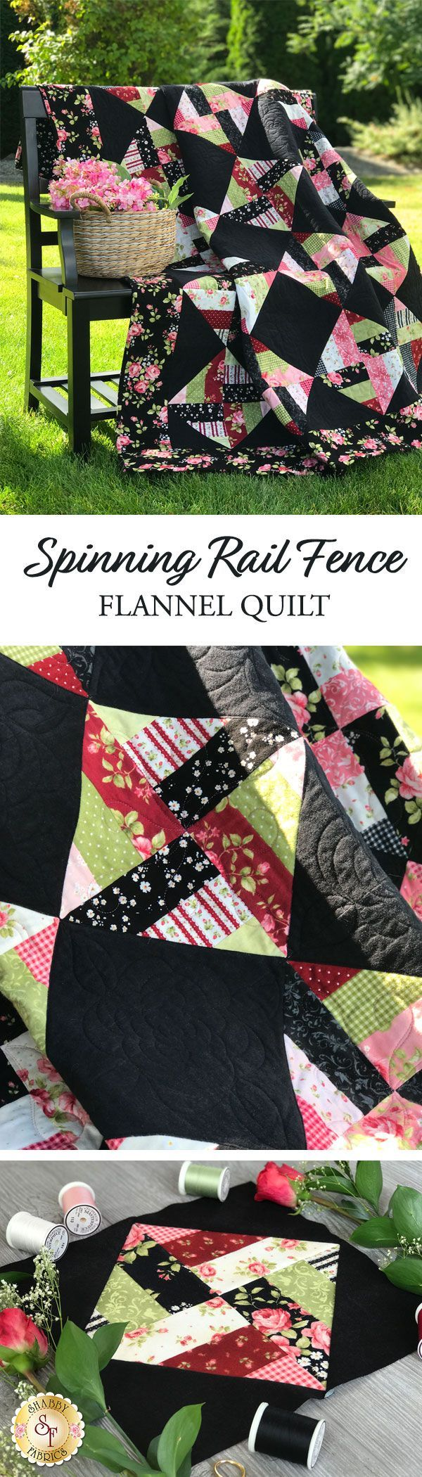 "Spinning Rail Fence Flannel Quilt Kit Sew a warm and cozy flannel quilt for your home with the Spinning Rail Fence Flannel Quilt! This beautiful Shabby Exclusive is perfect for quilters of all skill levels, beginners too! The best part is it's fast and simple, so you'll be cuddled underneath your very own cozy flannel quilt in no time! Quilt finishes to 59"" x 72""."