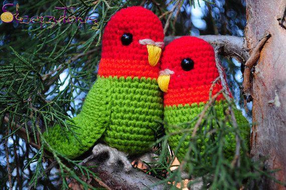 PDF Pattern - Amigurumi Lovebird (crochet parrot) Birds ...