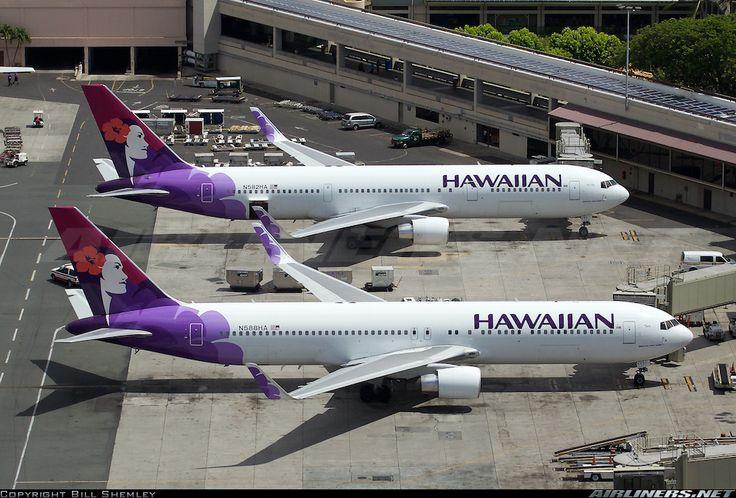 "Hawaiian Airlines Boeing 767-3CB/ER N588HA ""Iwa"" and Boeing 767-33A/ER N582HA ""Ake Ake"" side by side at Honolulu-International, April 2015. A nice comparison of the two 767-300 variants in Hawaiian's widebody fleet. (Photo: Bill Shemley)"