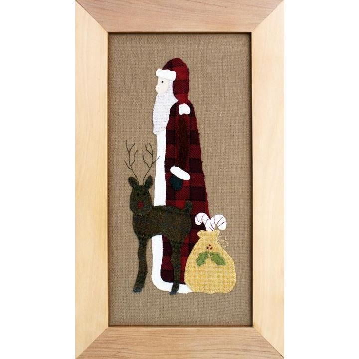 Old Saint Nick would make a lovely addition to your Christmas holiday decorating. It is made using wool appliqué on a prairie cloth background, then it can either be framed or bordered and bound as a small wall hanging.  This pattern includes full sized patterns and full instructions. It would be great project to start building your appliqué and quilting skills, as it is suitable for all skill levels.