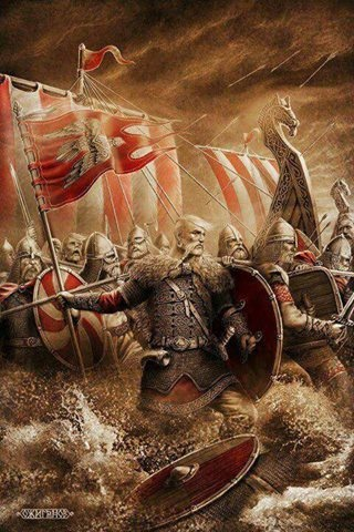 Northmen. Once again dispelling the myth that Viking battle helmets had horns.